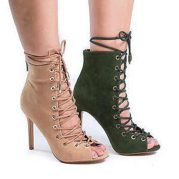 Keyle by Shoe Republic, Peep Toe Lace Up Stiletto High Heel Ankle Bootie