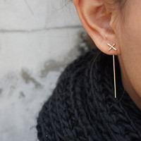 Gold X Ear Jacket, Thin Cross Earrings, Bar Earrings, Minimalist Ear Jacket, Bridesmaid Gift , Rose Gold , Gold Filled, Sterling Silver