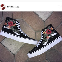Custom Vans Shoes | Black Old Skool or Sk8-HI with Rose Applique