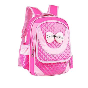 2016 New Children Fashion Design Bow Shoulder Bags Backpacks Schoolbag For Primary Girl Student Book Bag