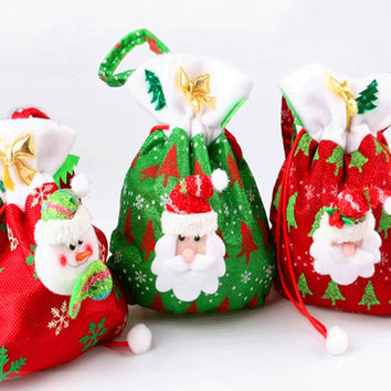 New Santa Claus Kids candy gift bags Handbag Pouch Wedding Sack Present Year Chrismas Bag Gift Bags Christmas Decoration