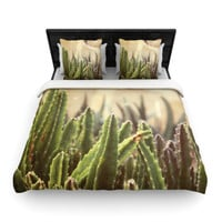 "Jillian Audrey ""Green Grass Cactus"" Green Brown Woven Duvet Cover"