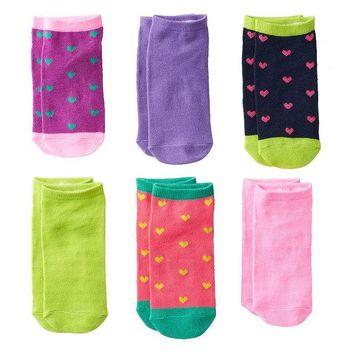 LMFPL3 Pink Cookie 6-pk. Sparkly Heart No-Show Socks - Girls Size