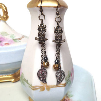 Long brass owl earrings with silver leaf dangles and faceted glass beads, owl jewelry, brass owl and bead earrings, bohemian jewelry