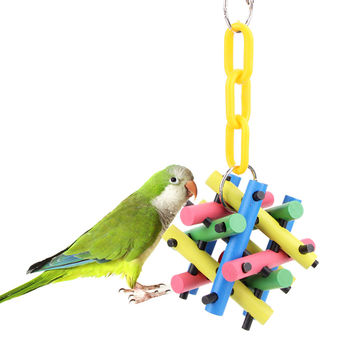 Colorful Wooden Pet Bird Chew Toy Cubes Blocks Bird Parrot Climb Cage Toys For Squirrel Parrot Pet Supplies