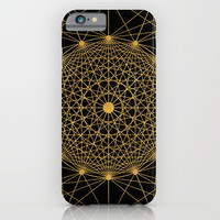 Geometric Circle Black and Gold iPhone & iPod Case by Fimbis