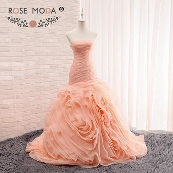 Rose Moda Blush Peach Trumpet Wedding Dress 3D Swirled Organza Mermaid Wedding Dresses Plus Size Real Photos