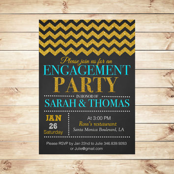Elegant Engagement Party Invitations, Custom Engagement Party Invitations, Chic Chevron Engagement Party Invitation, Art Party Invitation