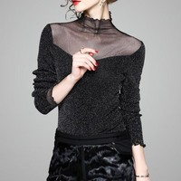 Sheer Neck Shinny Mesh Top