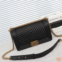 HCXX 19Aug 100 6089 Fashion Embossing Quilted Bag Leather Chain Shoulder Flap Bag Size25cm Black