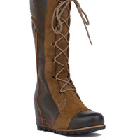 Sorel Cate The Great Waterproof Wedge Boots - Dark Brown