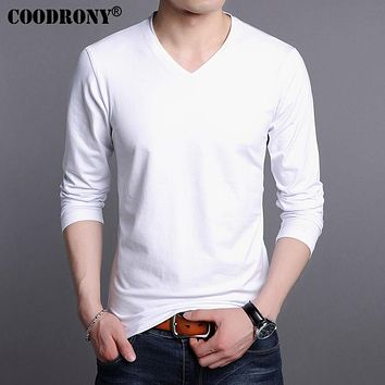 Men's Solid Color V-neck T-Shirt Pure Cotton T Shirt Men Clothing Long Sleeve Bottoming shirt