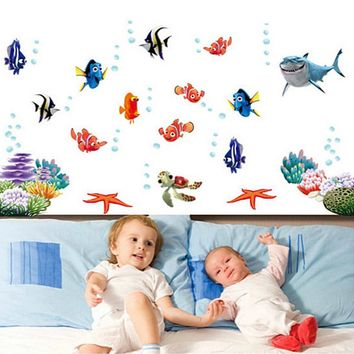 Finding Nemo Under Sea Shark Fish 3D Cartoon Waterproof Wall Decals Stickers For Kids Rooms Bathroom Nursery Room Decor Kids