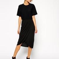 ASOS Pencil Dress with Drape Skirt and Textured T-Shirt at asos.com