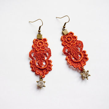 Silvia / burnt orange lace earrings // dangle earrings // hand dyed faux pearl charm // boho gypsy  victorian jewelry