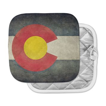 "Bruce Stanfield ""State Flag of Colorado"" Black Red Pot Holder"