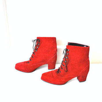 70s red suede hipster ankle boots 6 7