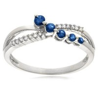 10k White Gold Blue Sapphire and Diamond-Accent Journey Ring, Size 9