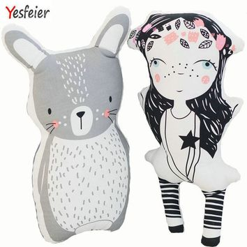Yesfeier 35-50cm Cartoon Decorative Pillow Bed Room Sofa Cushion Plush Toys Bear/Fox/Unicorn/Pillow Baby Appease Doll