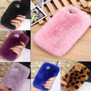 Warm Soft Faux Furry Fur Phone Cover Diamond Skin Case For iPhone X 8/8plus