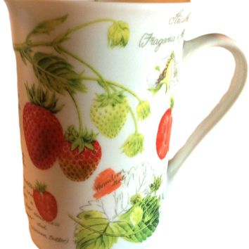 Porcelain Kent Pottery England Coffee Mug Tea Cup Strawberries Fine Bone China