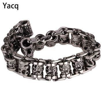 "YACQ Men Dragon Stainless Steel Bracelet 316L Biker Heavy Punk Rock Jewelry Gift for Him Dad Silver Tone 8.5"" GB312 dropshipping"
