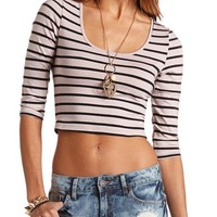 CAGED CUT-OUT STRIPED BACKLESS CROP TOP