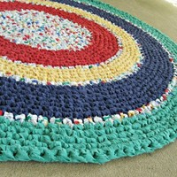 "Crochet rag rug - primary colors. Recycled, eco, repurposed, 31"" round"