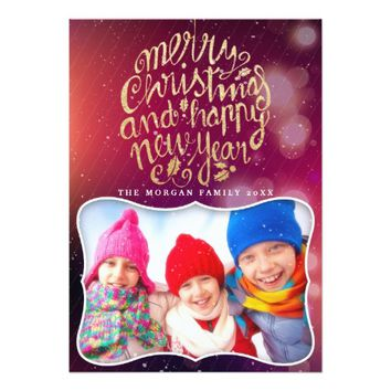 Red Gold Christmas & Happy New Year Greeting Photo Card