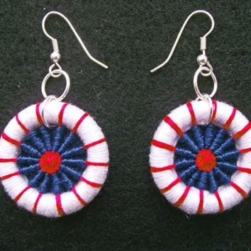Patriotic Dorset Button Earrings, Woven Earrings,  France Fete Nationale, GB Union Jack, USA 4th July, Artisan Red White Blue Earrings,