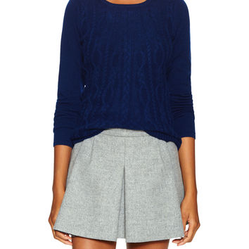 Elorie Women's Cashmere Cable Swing Sweater - Dark Blue/Navy -