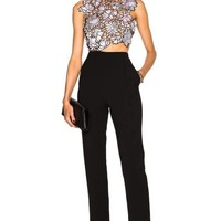 Blue Multi Embroidered Lace Jumpsuit