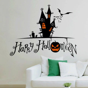 2015 Personality Skull pumpkin bat Living Room Vinyl Wall Decal Sticker For Halloween Party Home Decor