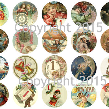 """Printed Vintage Victorian New Years 1 3/4"""" Circles Collage Sheet"""