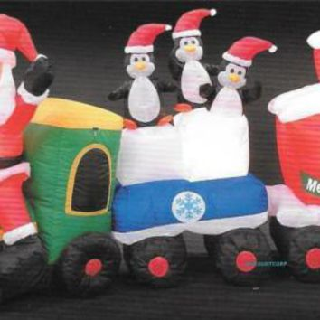 "82"" INFLATABLE SANTA TRAIN With LIGHTED PENGUINS, OUTDOOR CHRISTMAS YARD DECORATION,"