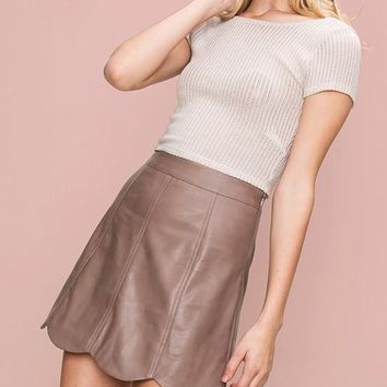 Scallop Trimmed Faux Leather Mini Skirt