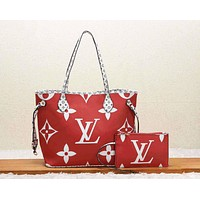 LV Louis Vuitton Fashion New Monogram Print Leather Leisure  Handbag Shoulder Bag Two Piece Suit Women Red