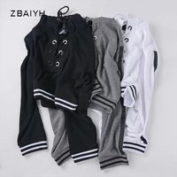 Women sweatshirt svitshot strap loose pullover long-sleeved hoodies short style crop tops bts kpop side stripes Moletom Feminino