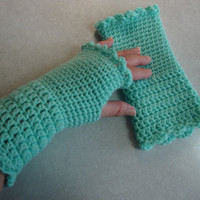 Mint Green Lady's fingerless gloves,gift idea, hand crochet, green, stocking stuffer, game prize, lady's gift, winter gloves, handmade, fall