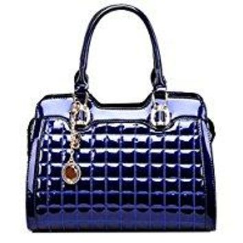 Yan Show Quilted Genuine Leather Double Handled Patent Ladies Tote Grab Bag