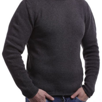 Brown mens crewneck knit pullover sweater