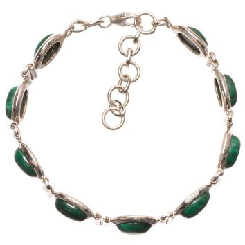"""Natural Malachite Handmade Mexican 925 Sterling Silver Bracelet 6 3/4-7 3/4"""" S2036"""