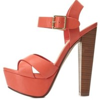 Crisscross Platform Chunky Heels by Charlotte Russe