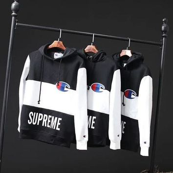 Supreme X Champion Trending Women Men Fashion Casual Edgy Loose Embroidery Hooded Top Sweater Pullover G