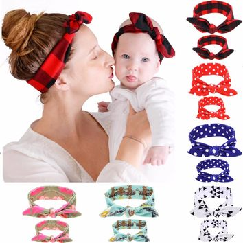 Puseky 2Pc/Set DIY Mom Mother & Girl Rabbit Ears Headband Plaid Bow Hairband Turban Knot Headwrap Hair Band Accessories