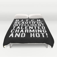 BITCH Acronym or Abbreviation (Black and White) Duvet Cover by CreativeAngel | Society6