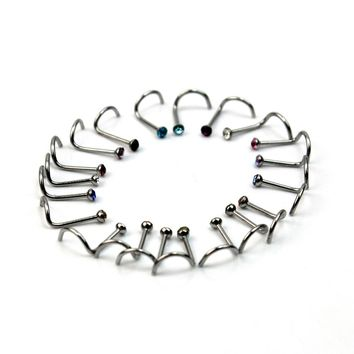 20pcs/Lot Fashion 316L Surgical Steel Mixed Colors Crystal Rhinestone Hook Bone Nose Rings Studs Bar Pin Body Piercing Jewelry
