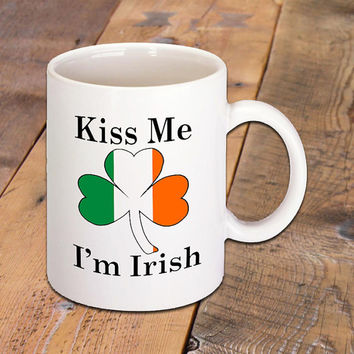 Kiss Me I'm Irish Shamrock Ceramic Coffee Mug, Great for Hot Drinks, Hot Coffee, Tea, Chocolate, Cappuccino, Latte, 11 Oz., Coffee Lovers