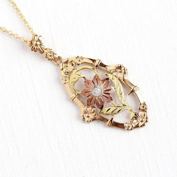 1940s Flower Necklace - Vintage 10k Rosy Yellow Gold Genuine .03 CT Diamond Pendant - Rose & Green Gold Accents Fine Floral Esemco Jewelry