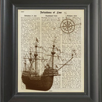 Sail Boat with compass.  Printed on love page  -  250Gram paper.